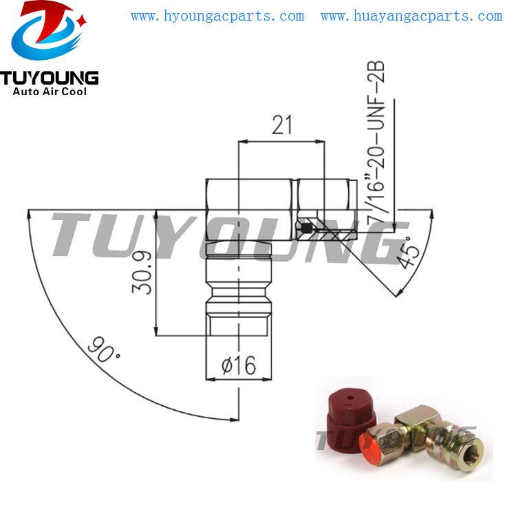 auto adapter for R12 R134A HP service port High Angle Pressure