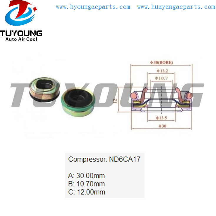 ND6CA17 auto air conditioning a/c shaft seal, shaft oil seal
